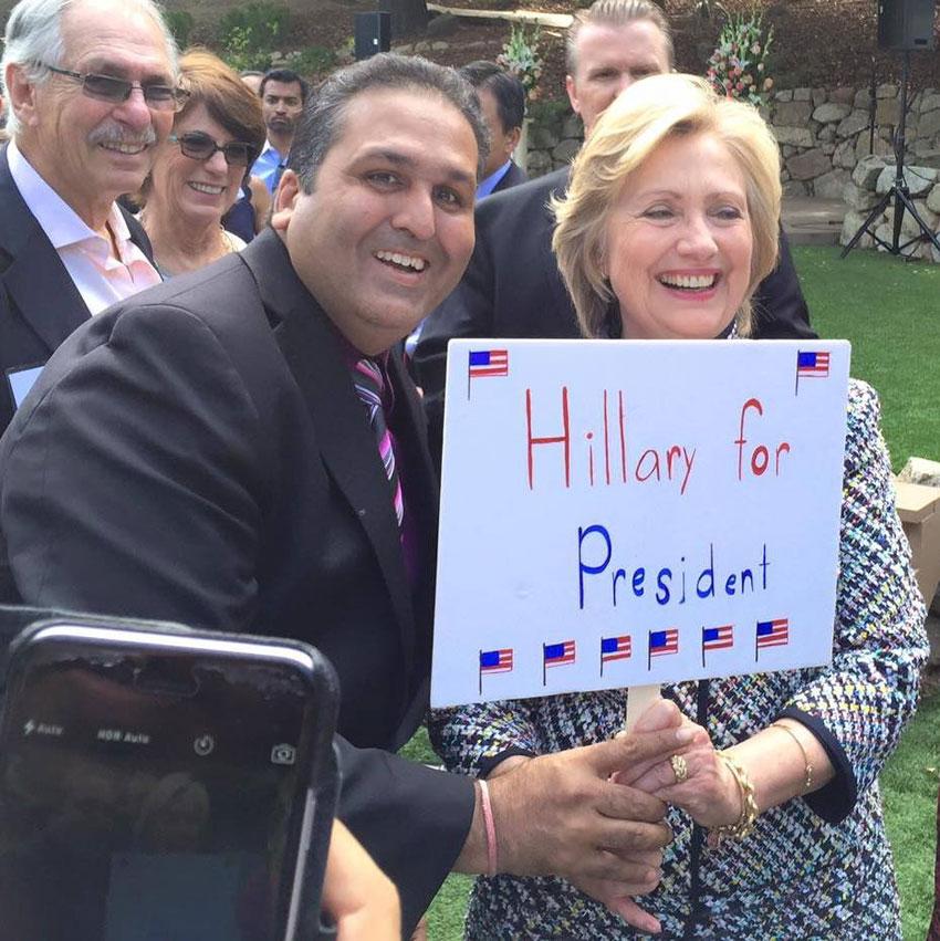 Ajay Jain Bhutoria with Hillary Clinton.