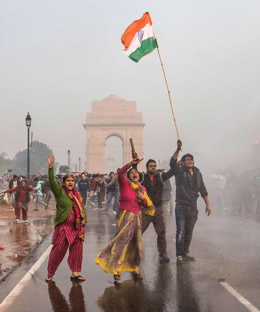 File photo of protestors shouting slogans during a protest against the Indian governments reaction to rape incidents in India, in front of India Gate, Dec. 23, 2012 in New Delhi. (Daniel Berehulak | Getty Images)