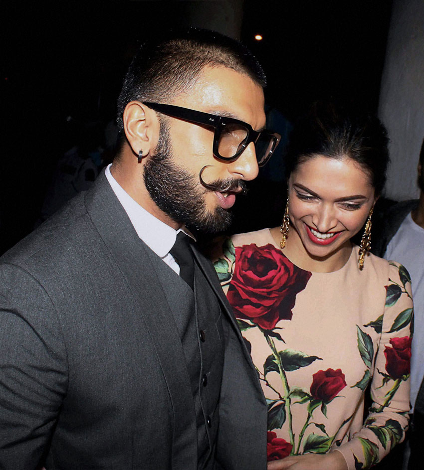 """#Bajirao Mastani"" co-stars #RanveerSingh and #DeepikaPadukone at the success party of ""#Tamasha"" in Mumbai, Dec. 1. (Press Trust of India)"