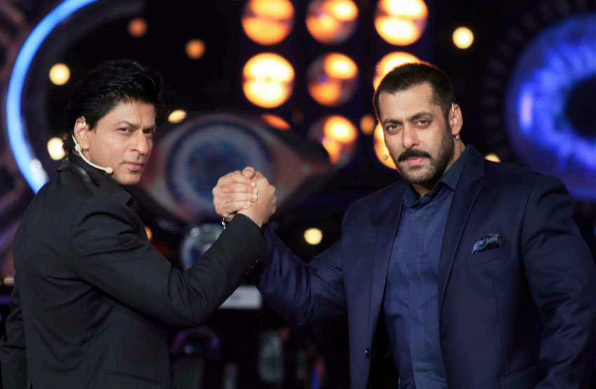 "Salman Khan host with Shah Rukh Khan during the promotion of his film '#Dilwale' on the set of #Colors ""#BiggBoss"" TV Reality Show at Lonavala near Mumbai. (Press Trust of India)"