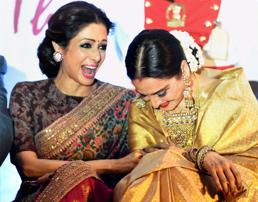 Sridevi at the 3rd Yash Chopra Memorial award, which was conferred to veteran actress Rekha (r) in Mumbai, Jan. 25. (Mitesh Bhuvad | PTI)