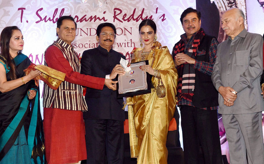 Jaya Prada, T. Subbarami Reddy, Maharashtra Governor C. Vidyasagar Rao, Shatrughan Sinha and Sushilkumar Shinde at the 3rd Yash Chopra Memorial award, conferred to veteran actress Rekha (c) in Mumbai, Jan. 25. (Mitesh Bhuvad | PTI)