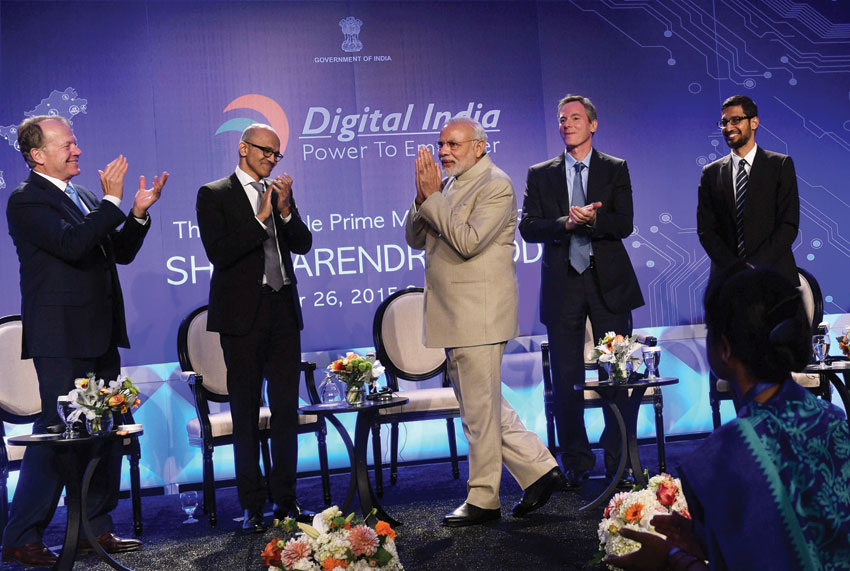 File photo of Prime Minister Narendra Modi with Microsoft CEO Satya Nadella (2nd from l), John T. Chambers, Executive Chairman of Cisco (l), Paul E. Jacobs, Executive Chairman of Qualcomm (2nd from r) and Goggle CEO Sundar Pichai (r) at the Digital India and Digital Technology dinner in San Jose, Calif., Sept. 26. (Subhav Shukla | PTI)