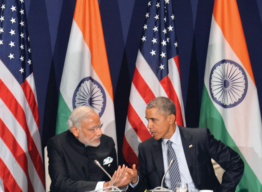 Prime Minister Narendra Modi meeting President Barack Obama on the sidelines of COP21 Summit, in Paris, France, Nov. 30. (Press Information Bureau)