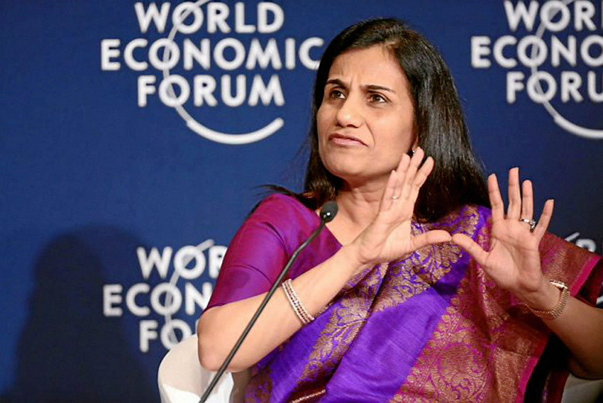 Chanda Kochhar, managing director and chief executive officer of ICICI Bank speaks during a session at the World Economic Forum in Davos, Switzerland, Jan. 21. (Press Trust of India)
