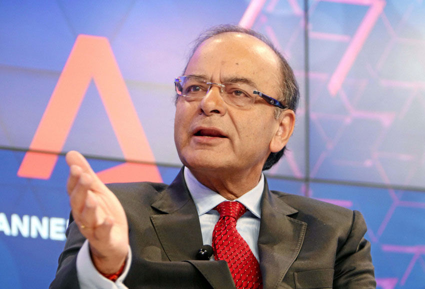Indian Finance Minister Arun Jaitley speaks during the session of 'Asia's Era of Infrastructure' at the Annual Meeting 2016 of the World Economic Forum in Davos, Switzerland, Jan. 22. (Press Trust of India)