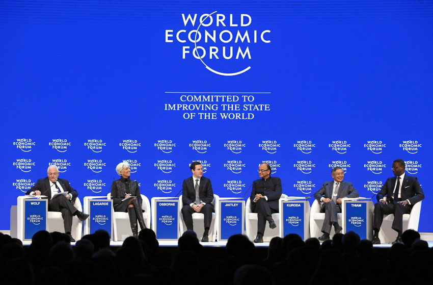 Indian Finance Minister Arun Jaitley, Christine Lagarde, managing director, International Monetary Fund, and other dignitaries at a session at the World Economic Forum in Davos, Switzerland, Jan. 23. (Press Trust of India)