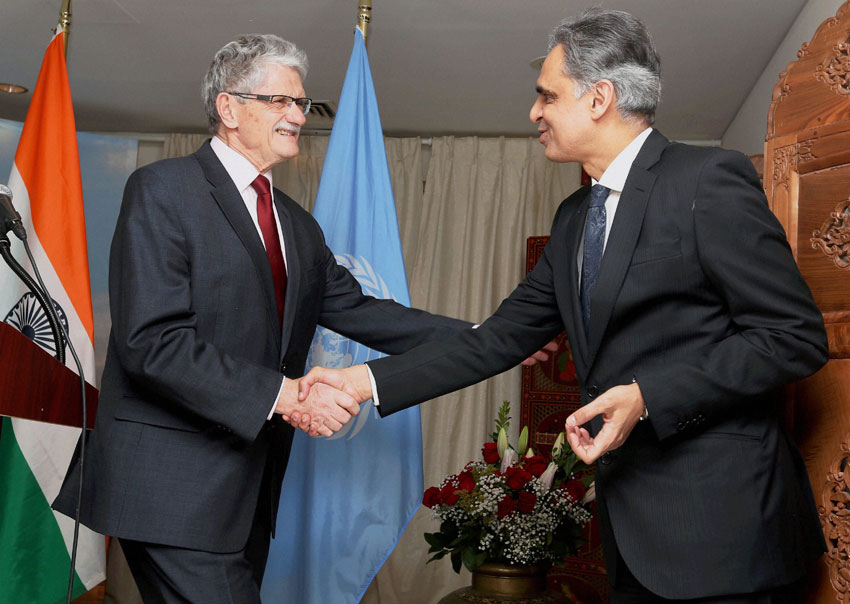 President of the United Nations General Assembly Mogens Lykketoft of Denmark greets Indian Ambassador to United Nations Syed Akbaruddin on the occasion of India's 67th Republic day celebrations at Permanent Indian Mission in New York, Jan. 26. (Press Trust of India)