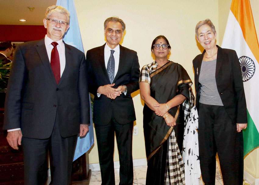 (L-r): Mogens Lykketoft, President of the 70th session of the UN General Assembly, Ambassador Syed Akbaruddin, India's Permanent Representative to the UN, Padma Akbaruddin and Mette Holm spouse of President of the UNGA, on the occasion of India's 67th Republic day celebrations at Permanent Mission of India (PMI) in New York on Tuesday. (Press Trust of India)
