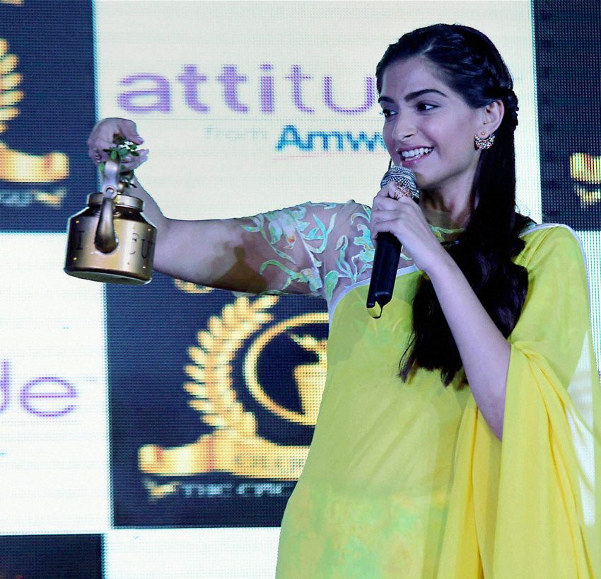 "Sonam Kapoor promoting her film ""Neerja"" in Mumbai, Feb. 12. (Press Trust of India)"