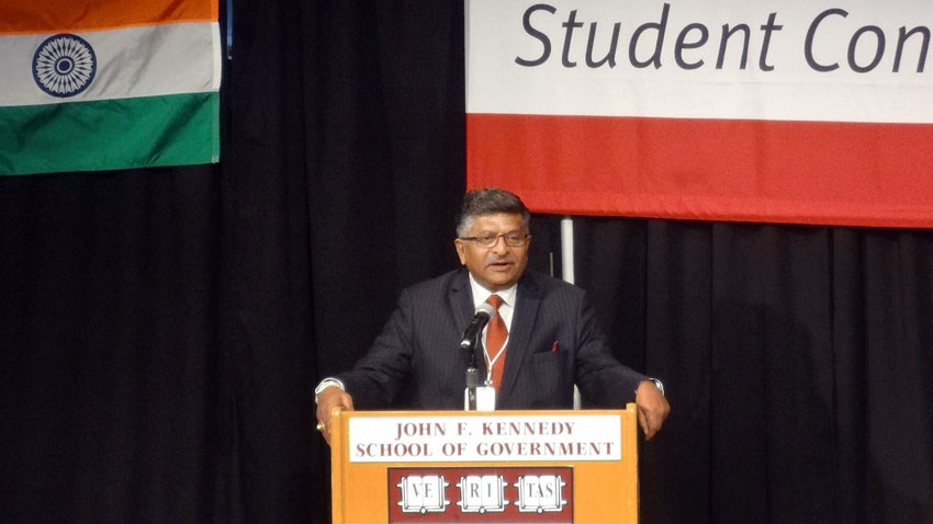 India's Communication and IT Minister Ravi Shankar Prasad delivering the keynote address to annual India Conference 2016 of the Harvard Business School at Harvard in Boston, Mass., Feb. 6. (Press Trust of India)