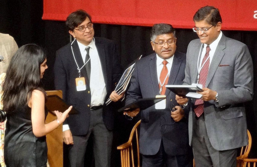 India's Communications and IT Minister Ravi Shankar Prasad (2nd from r) at the annual India Conference 2016 of Harvard University, in Boston, Mass., Feb. 6. (Press Trust of India)