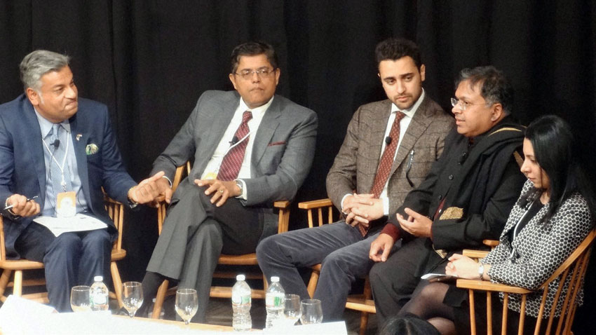 Imran Khan (3rd from l) at a panel discussion on LGBT rights at the annual India Conference 2016 of Harvard University, in Boston, Feb. 6. (Press Trust of India)