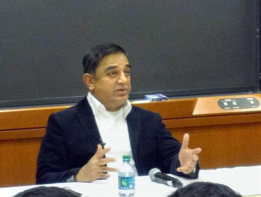Kamal Haasan in a fire side chat session with Indian students of Harvard University in Boston, Mass., Feb. 7. (Press Trust of India)