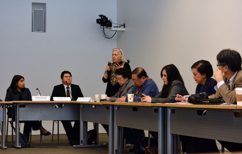 Sandy Close, executive director, New America Media (c, standing) with speakers at the U.S. Citizenship & the 2016 Race briefing, at San Jose City Hall, Feb. 5. (Amar D. Gupta | Siliconeer)