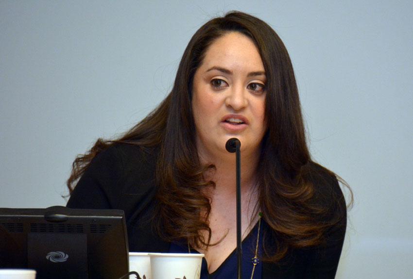 Vanessa Sandoval of SIREN at the U.S. Citizenship & the 2016 Race briefing, at San Jose City Hall, Feb. 5. (Amar D. Gupta | Siliconeer)