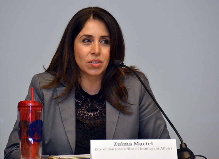 Zulma Maciel, from the City of San Jose Office of Immigrant Affairs, at the U.S. Citizenship & the 2016 Race briefing, at San Jose City Hall, Feb. 5. (Amar D. Gupta | Siliconeer)