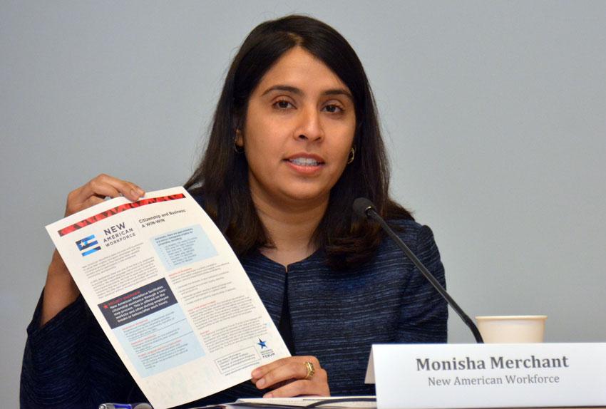 Monisha Merchant of the New American Workforce, at the U.S. Citizenship & the 2016 Race briefing, at San Jose City Hall, Feb. 5. (Amar D. Gupta | Siliconeer)