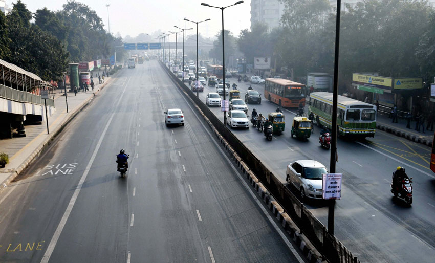 Relatively less traffic is seen at ITO as the Odd-Even scheme restricting movement of private cars, is operational in New Delhi, Jan. 2. (Shahbaz Khan | PTI)
