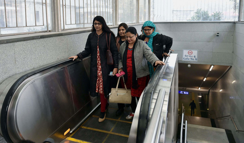 Delhi Commission for Women chairperson Swati Maliwal uses Metro train to commute as the odd-even scheme is operational in New Delhi, Jan. 2. (Shahbaz Khan | PTI)
