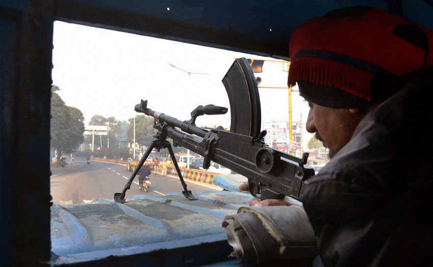 A police man guards in Jalandhar, in the wake of militants attack at an IAF base in Pathankot. (Press Trust of India)