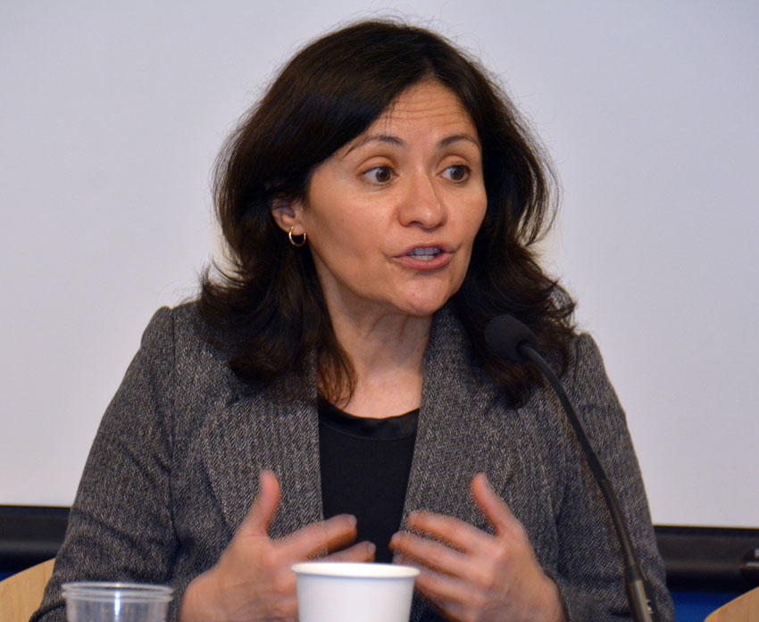 Edith Ramirez, chairwoman, Federal Trade Commission, speaking to ethnic media at World Affairs Center in San Francisco, Feb. 11. (Amar D. Gupta | Siliconeer)