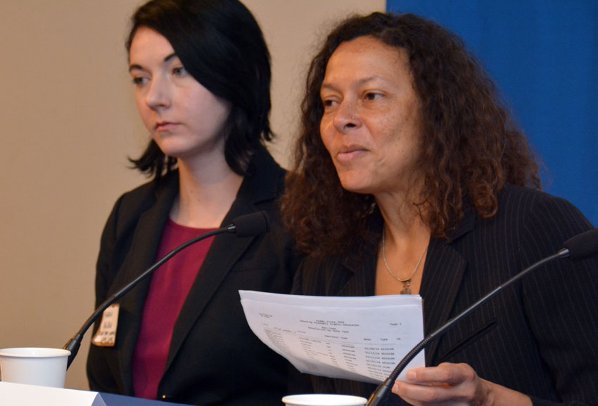 Maeve Elise Brown, executive director, Housing and Economic Rights Advocates, speaking on real estate and foreclosure fraud to ethnic media at World Affairs Center in San Francisco, Feb. 11. (Amar D. Gupta | Siliconeer)