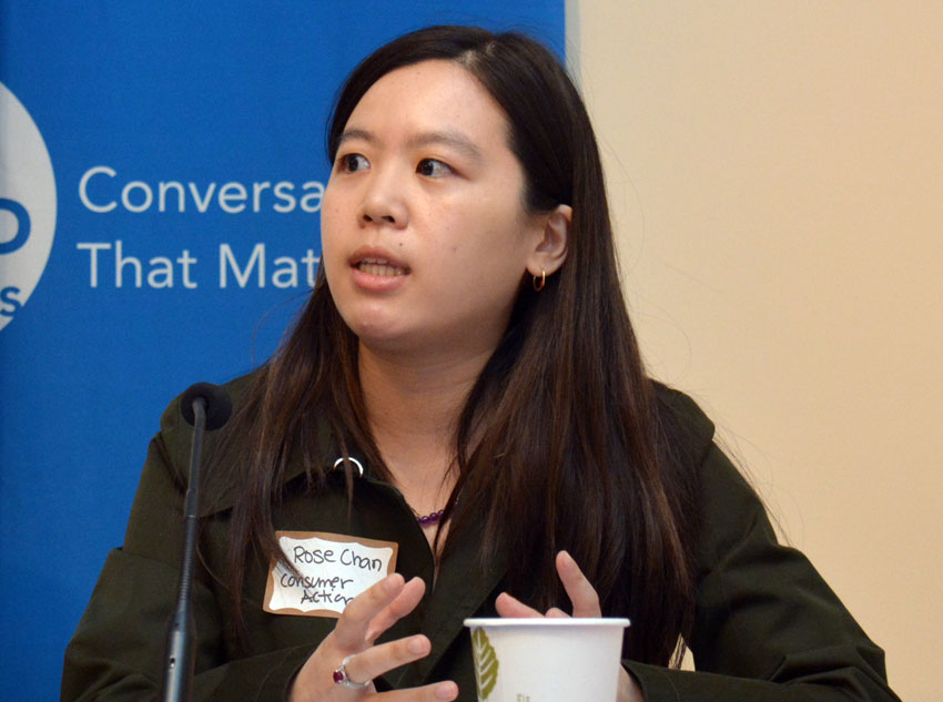 Rose Chan (r), consumer advice coordinator, Consumer Action, speaking to ethnic media at World Affairs Center in San Francisco, Feb. 11. (Amar D. Gupta | Siliconeer)