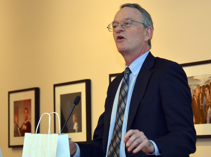 Larry Blazer from Alameda County DA's Office speaking to ethnic media, at World Affairs Center in San Francisco, Feb. 11. (Amar D. Gupta | Siliconeer)