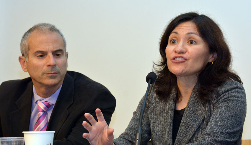 Edith Ramirez, chairwoman, Federal Trade Commission, (r), speaking to ethnic media, as Thomas Dahdouh looks on, at World Affairs Center in San Francisco, Feb. 11. (Amar D. Gupta | Siliconeer)