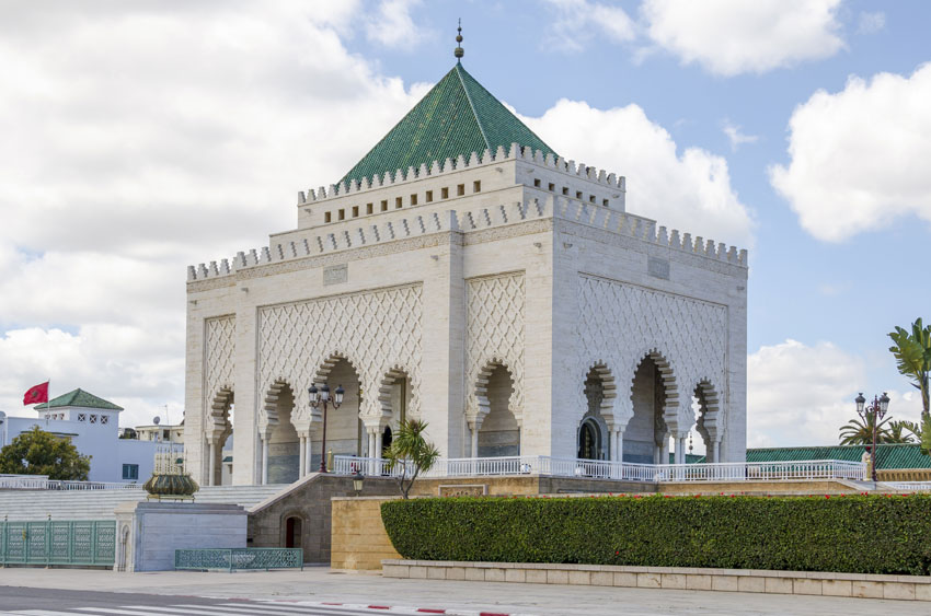 The Mausoleum of Mahamed V in Rabat, one of the most revered site in Morocco.