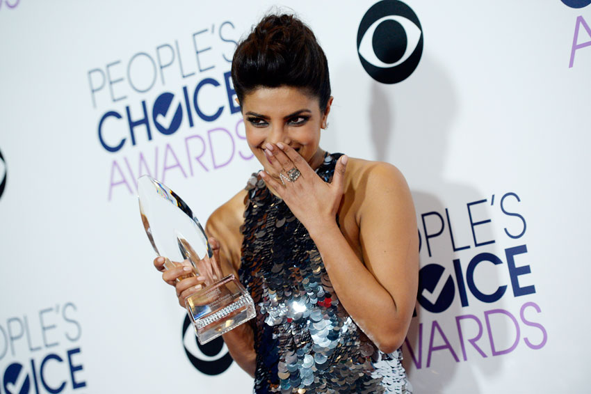 Priyanka Chopra, winner of Favorite Actress In A New TV Series for 'Quantico,' poses in the press room during the People's Choice Awards 2016 at Microsoft Theater, Jan. 6, in Los Angeles. (Kevork Djansezian | Getty Images)