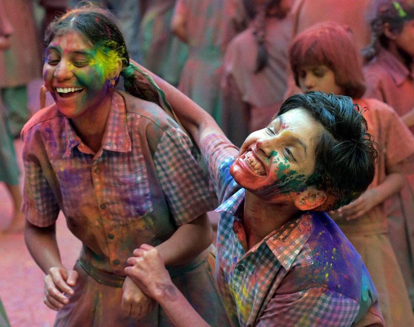 Visually challenged students celebrate 'Holi' in Mumbai, Mar. 23. (Santosh Hirlekar   PTI)