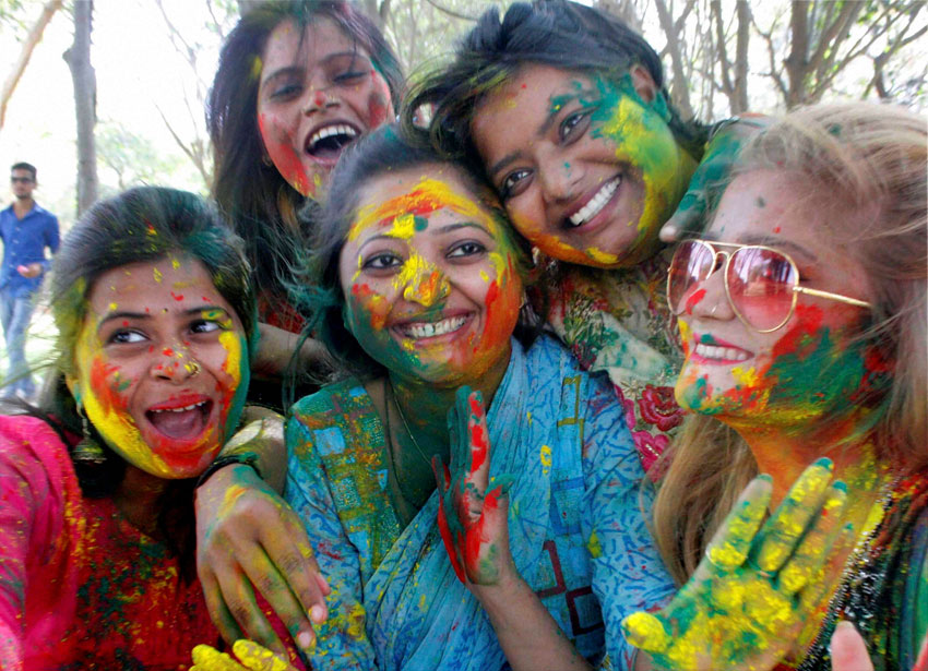 Girls playing 'Holi' in Lucknow, Mar. 22. (Nand Kumar | PTI)