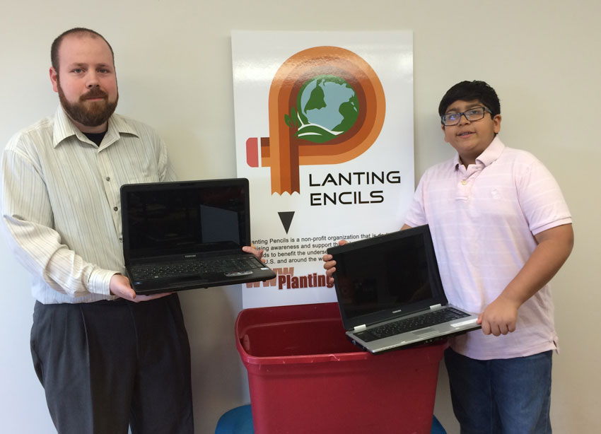 Adam Turney (l), owner of ReBoot Computer Sales and Service in Bristol, and Ishaan Patel, founder of Planting Pencils, have partnered to provide underserved students in Connecticut and beyond with refurbished computers. ReBoot will accept donations of unwanted laptops and computers and make any necessary repairs prior to distribution. (Alliances by Alisa Media Relations)