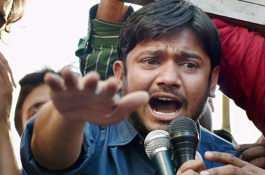 JNUSU president Kanhaiya Kumar addresses a students' protest march at Jantar Mantar in New Delhi, Mar. 15. (Atul Yadav | PTI)