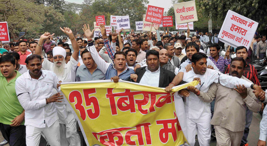 People from different non-Jat communities protest against Jat agitation in Haryana, at the mini-secretariat in Faridabad, Haryana, Feb. 29. (Press Trust of India)