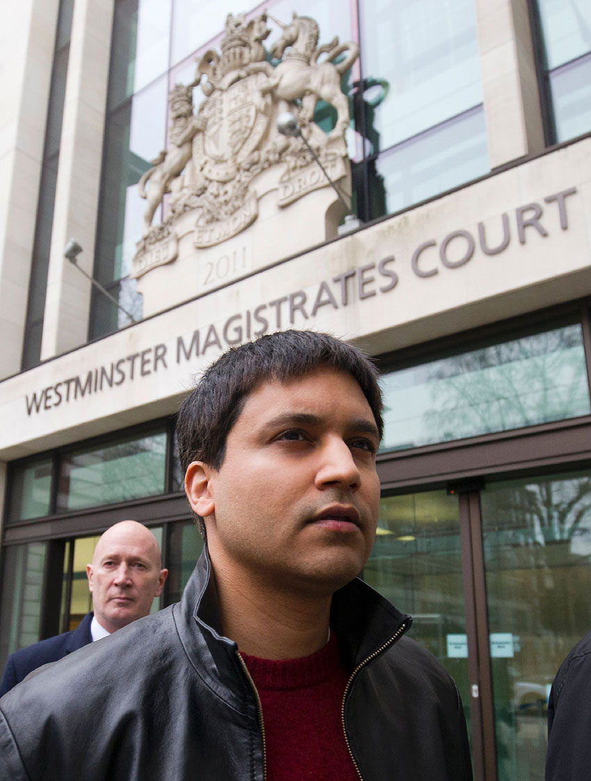 "British trader Navinder Singh Sarao leaves Westminster Magistrates Court in central London on Mar. 23. A British judge ruled that a British financial trader accused of manipulating markets and causing the  2010 ""Flash Crash"" in U.S. stocks can be extradited to face trial in the United States. (Justin Tallis 