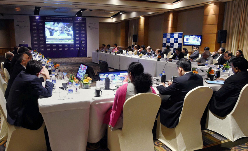 Business leaders during a Union Budget viewing session organized by CII, in Mumbai, Feb. 29. (Mitesh Bhuvad | PTI)