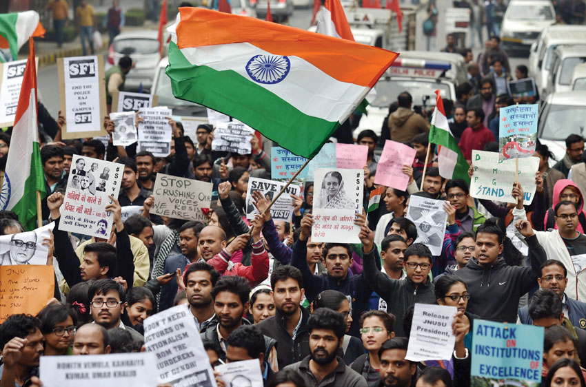 Students from various organizations during their march from Mandi House to Jantar Mantar in solidarity with the JNUSU President Kanhaiya Kumar, in New Delhi, Feb. 18. (Kamal Singh | PTI)