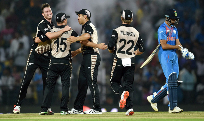 New Zealand players celebrate their victory against India during the ICC T20 World Cup match played in Nagpur, Mar. 15. India will take on archrivals Pakistan at Eden Gardens, in Kolkata, Mar. 19. (Shashank Parade | PTI)