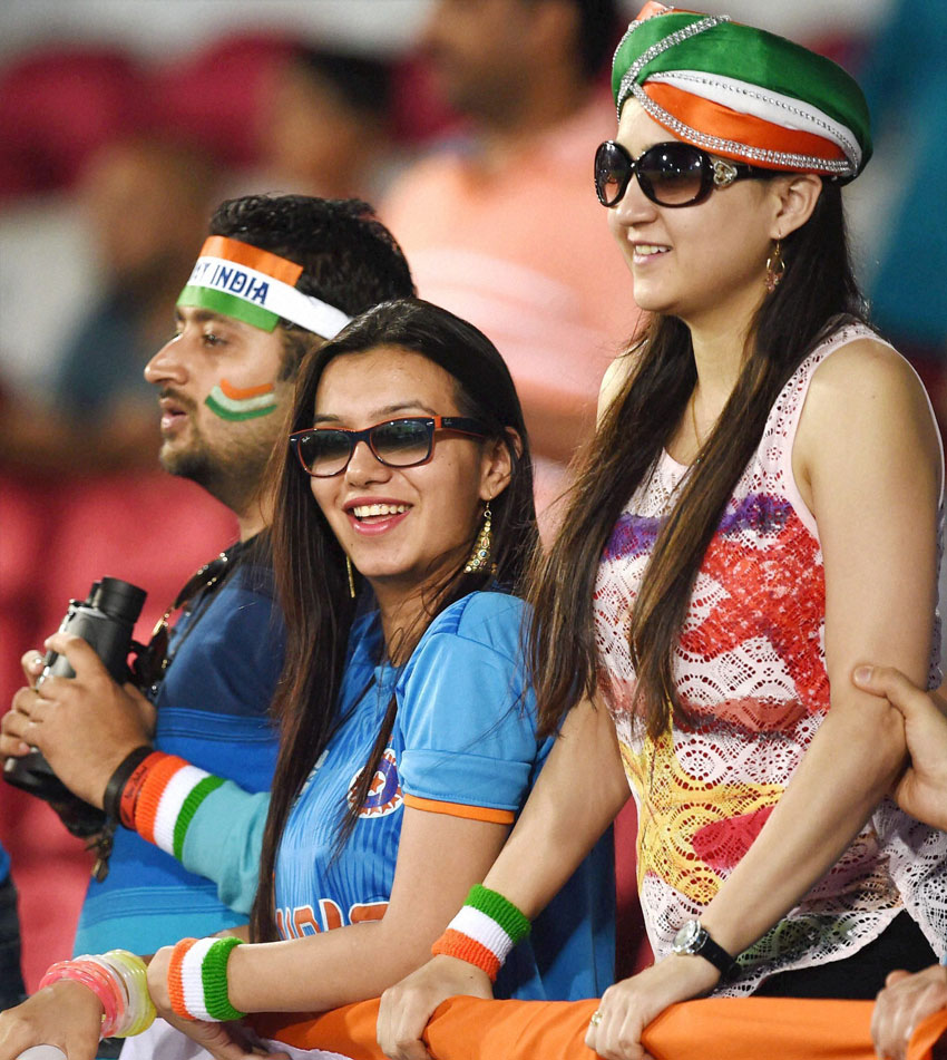 Indian fans gathered during the ICC T20 World Cup match played between India and New Zealand in Nagpur, Mar. 15. (Shashank Parade | PTI)
