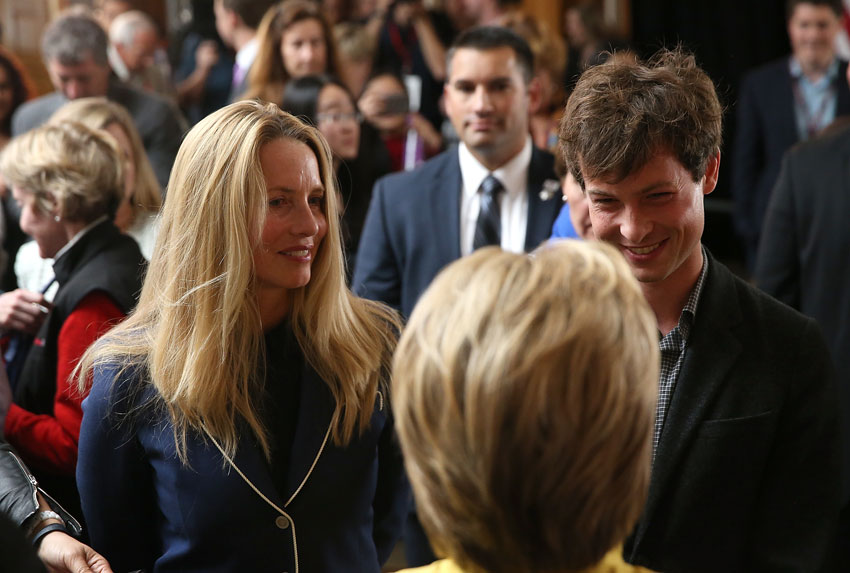 Democratic presidential candidate former Secretary of State Hillary Clinton greets Laurene Powell (l) widow of Steve Jobs, and her son Reed Jobs after delivering a counterterrorism address at Stanford University on Mar. 23, in Stanford, Calif. A day after terror attacks left dozens people dead in Brussels, Hillary Clinton delivered a counter terrorism speech.  (Justin Sullivan | Getty Images)