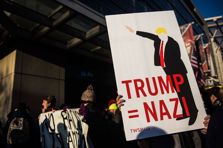 A Donald Trump protestor demonstrates outside of the Verizon Center during the American Israel Public Affairs Committee (AIPAC) conference on Mar. 21, in Washington, D.C. Presidential candidates from both parties gathered in Washington to pitch their plans for Israel.  (Gabriella Demczuk | Getty Images)