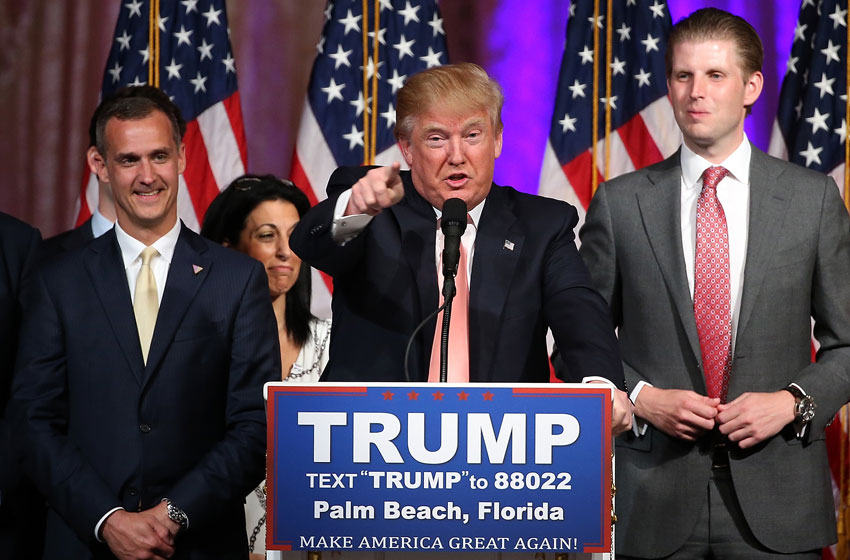 Republican presidential candidate Donald Trump speaks during a primary night press conference at the Mar-A-Lago Club's Donald J. Trump Ballroom, Mar. 15, in Palm Beach, Florida. Trump won the state of Florida and Ohio Gov. John Kasich won the state of Ohio.  (Win McNamee   Getty Images)