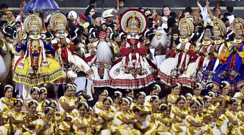 Artists from Kerala perform during the opening day of the three-day long World Culture Festival in New Delhi, Mar. 11. (Kamal Kishore | PTI)