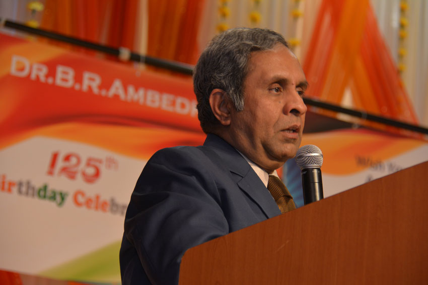 Consul General Ambassador Venkatesan Ashok addressing the gathering on the occasion of Dr. B.R. Ambedkar's 125th Birth Anniversary celebrations at the India Community Center in Milpitas, Calif., April 14. (Amar D. Gupta | Siliconeer)