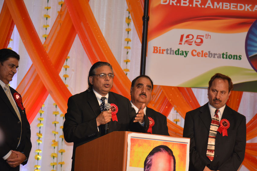 In his address, Prof. Ronki Ram, head of the department of Political Science at Punjab University, highlighted various aspects of Dr. Ambedkar's multifaceted personality on the occasion of Dr. B.R. Ambedkar's 125th Birth Anniversary celebrations at the India Community Center in Milpitas, Calif., April 14. (Amar D. Gupta | Siliconeer)