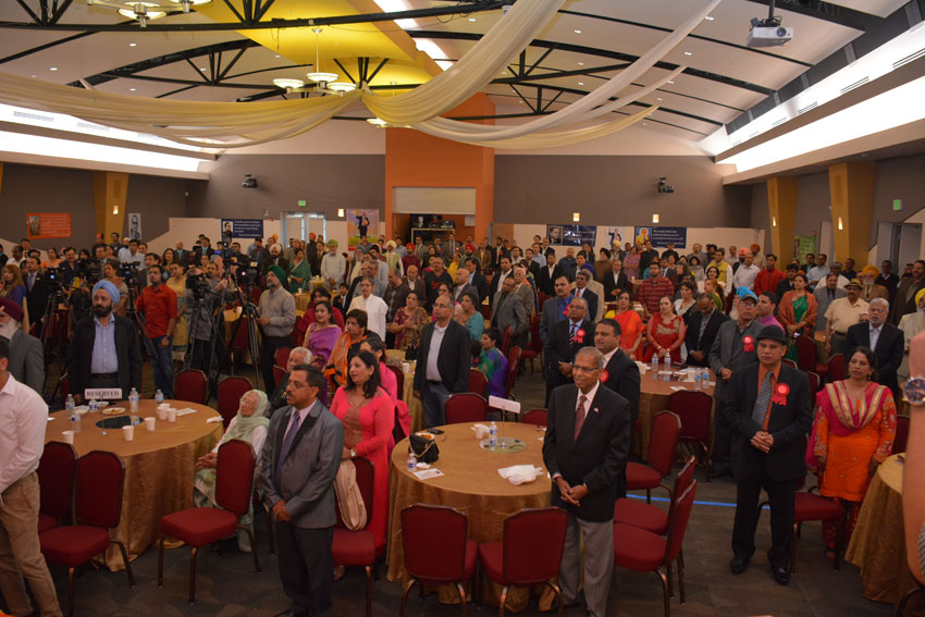 A packed auditorium of Indian Americans, gathered to celebrate Dr. B.R. Ambedkar's 125th Birth Anniversary at the India Community Center in Milpitas, Calif., April 14. (Amar D. Gupta | Siliconeer)