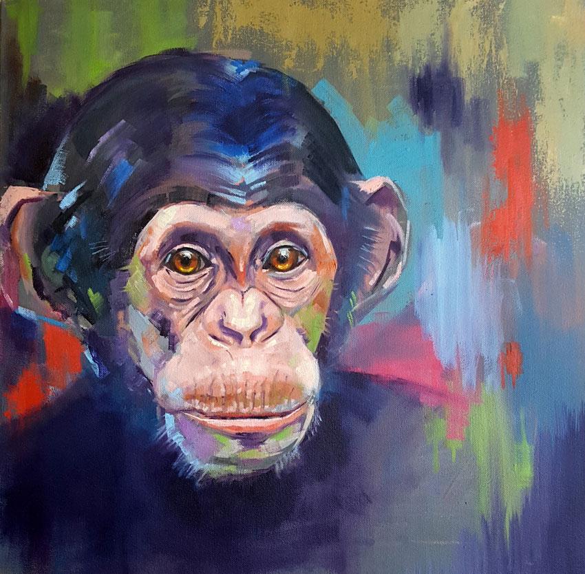 Baby Chimp, 20 x 20